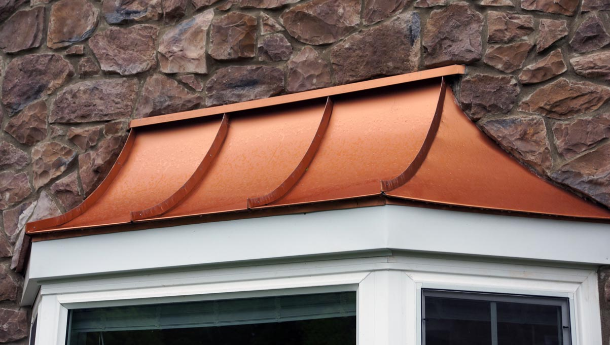 Curved bay window roof bensalem metal for Curved bay window
