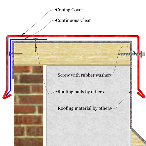 Simple system sloped sheet metal coping sketch drawing. The image shows a sketch of metal coping installed over parapet wall.