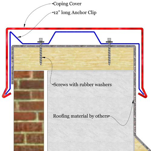 Snap lock roof coping level sketch drawing. The image shows a sketch of metal coping installed level over parapet wall.
